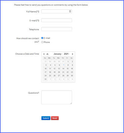Accountants  Web Design Contact Us Form